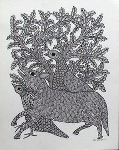 TOL-RS-12  by Rajendra Shyam  Size: 35x27.5cms  @ Rs.6000/-