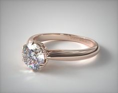engagement rings, solitaire, 14k rose gold modern tulip diamond engagement ring item 50763