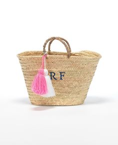 Monogram Tassel Basket