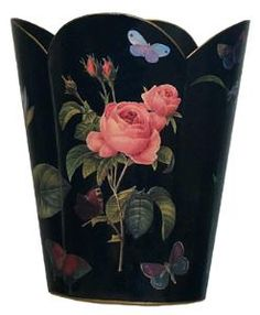 Black with Pink Rose Decoupage Wastebasket and Optional Tissue Box Cover. Product in photo is from www.wellappointedhouse.com
