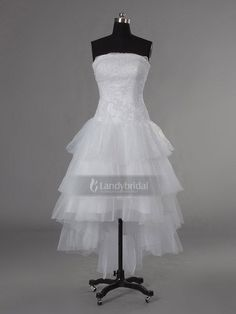 #short front and long back wedding dresses patterns, #tiered ruffles wedding dress, # lace up Wedding Dress