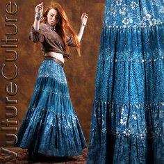 79673b6477 Vintage Boho Broomstick Skirt Boho Fashion, Vintage Fashion, Vintage Style,  Hippie Skirts,