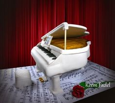 White Grand Piano Cake - too lovely to eat!