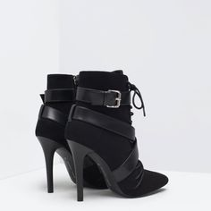 Image 3 of LACE-UP HIGH HEELED BOOTIE from Zara