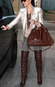 kim kardashian in brown boots and bag...great fall look