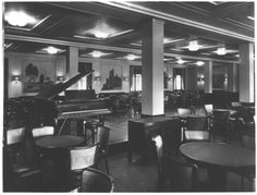 """A stark, clean, efficient, yet attractively elegant lounge aboard the Gustloff. Lacking the full blown Art Deco interiors of her 30's contemporaries, the Nazi's view of a socialized middle class wouldn't fit with lavish fittings for the United German Workers Party floating """"palace"""""""
