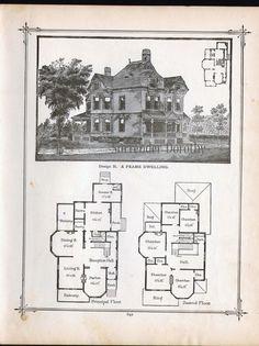 Gothic Frame Dwelling Vintage House Plans 1881 Antique Victorian Architecture  Print To Frame. $18.89, via Etsy.