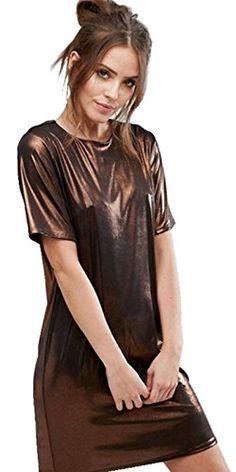 b7b965758c7 Sexy Shiny Metallic Bronze Short Sleeve Mini TShirt Shift Boxy Straight  Dress 2XL    BEST VALUE BUY on Amazon  KoreanDresses