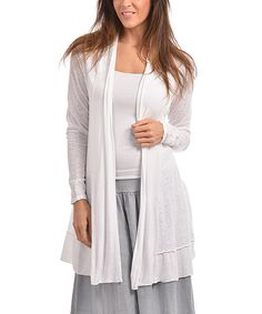 Another great find on #zulily! White Jamila Linen-Blend Open Cardigan - Plus Too #zulilyfinds