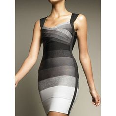 Sexy V-Neck Sleeveless Backless Color Block Bodycon Bandage Dress For Women