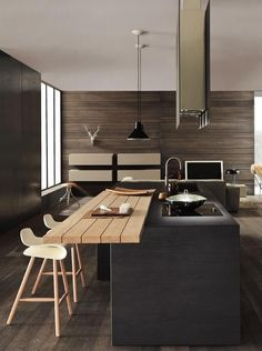 Kitchen designs this year. Are you looking for inspiration for your home kitchen design? Take a look at the kitchen design ideas here. There is a modern, rustic, fancy kitchen design, etc. Modern Kitchen Design, Interior Design Kitchen, Kitchen Contemporary, Contemporary Design, Modern Design, Contemporary Apartment, Modern Kitchens, Black Kitchens, Urban Design