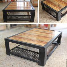 """Стол industrial """"Black"""" - купить или заказать в интернет-магазине на Ярмарке Мастеров - 8L0JPRU. Кабардинка   Металл, покрытый краской, дерево брашированное,…"""