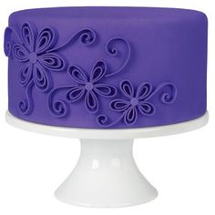 Quilled Flowers Purple Fondant Cake
