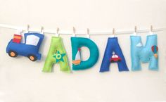 Boy Name Banner, Baby Boy Name Gift, Jewish Gift, Rosh Hashanah Gift, Baby Name Banner Colors: Turquoise, Green, Ciel and Blue