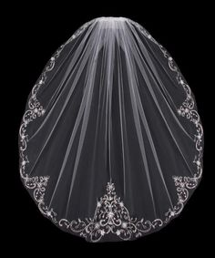 Fingertip Length Wedding Veil with Beaded Silver Embroidery V704SF including sequins, beads and rhinestones- Affordable Elegance Bridal -