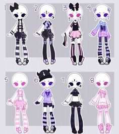 DeviantArt: More Like Gachapon outfits 18 by kawaii-antagonist Kawaii Drawings, Cute Drawings, Outfit Drawings, Character Inspiration, Character Art, Clothing Sketches, Anime Dress, Fashion Design Drawings, Drawing Base