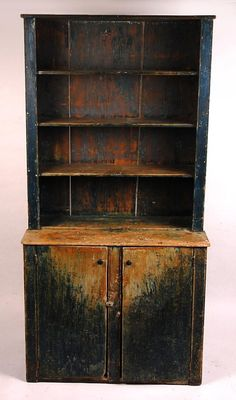 An open gallery pine wood step back cupboard constructed with wide boards up to 19 inches, the rough back boards with. Primitive Cabinets, Primitive Furniture, Primitive Antiques, Country Furniture, Country Primitive, Farmhouse Furniture, Primitive Decor, Colonial Furniture, Rustic Cabinets