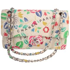 Preowned Chanel Vintage Flower Print Multicolor Single Flap Bag,... ($2,469) ❤ liked on Polyvore featuring bags, handbags, multiple, structured shoulder bags, floral purse, vintage handbags, floral handbags, quilted leather purse and leather handbags
