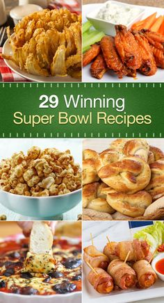 Super Bowl Food: 29 Winning Recipes including Bacon Wrapped Smokies, Panko Chicken Strips, Quesadillas, Buffalo Chicken Cheese Balls, Buffalo Chicken Wings, Onion Rings, Soft Pretzels, Potato Chips, French Fries, Pizza Dip, Guacamole, Barbecue Ribs, Chili, Pulled Pork, Philly Cheesesteak, Meatballs, Pigs in a Blanket, Tacos, Pizza, and more!