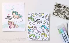 Nancy's Technique of the Week: Layering | magical day | CardMaker Blog Supplies used: Solar white 80# cardstock from Neenah Paper Inc.; Be a Unicorn stamp and die sets (#D-16-04) and Pierced Clouds dies (#D-05-01) by Avery Elle; tumbled glass Distress ink pad from Ranger Industries Inc.; onyx black VersaFine ink pad from IMAGINE Crafts; Zig Clean Color Real Brush Markers from Kuretake; enamel star from My Mind's Eye.