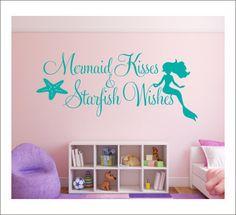 Mermaid Kisses Wall Decal Starfish Wishes Decal Wall Decal Mermaid Starfish Beach Ocean Wall Decal Girls Nursery Bedroom Decal Housewares by CustomVinylbyBridge on Etsy https://www.etsy.com/listing/222619271/mermaid-kisses-wall-decal-starfish