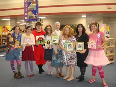 Book Character Costumes. Cute! Elementary School Library idea.