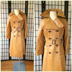 Vintage Mod Leather Trench Coat 1970s Double Breasted by girlgal6