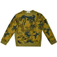 STONE ISLAND Childrens Boy Camouflage Sweatshirt ($125) ❤ liked on Polyvore featuring tops, hoodies, sweatshirts, crew-neck sweatshirts, brown tops, brown sweatshirt, camo top and camouflage sweatshirt