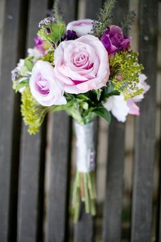 DIY Briadal flower bouquets Wedding Flowers : DIY Purple Bouquet