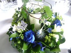 table top ideas for weddings thistles - Google Search Wedding Table Decorations, Wedding Centerpieces, Centrepieces, Blue Wedding Flowers, Ivory Wedding, Rose Bouquet, Blue Green, Floral Wreath, Thistles