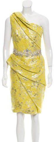 Marchesa One-Shoulder Brocade Dress