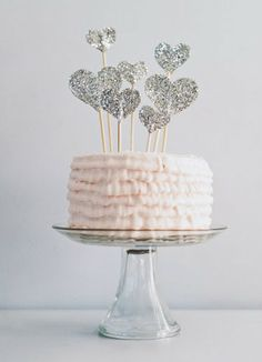 love these little heart cake toppers
