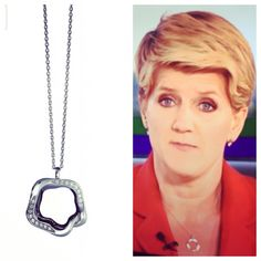 Our Open Flower Necklace silver and Crystals being worn by Clare Balding