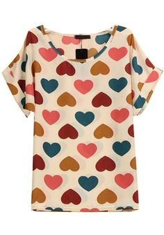 Beige Love Print Short Sleeve Wrap Chiffon Blouse