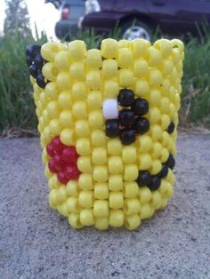 Big Pikachu Face Pokemon Rave PLUR Kandi Cuff Bracelet by GotKandi, $9.00