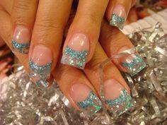 blue glitter acrylic nail