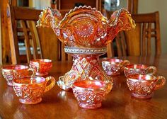 Carnival Glass Punch Bowl Set Imperial Hobstar and Flower Marigold