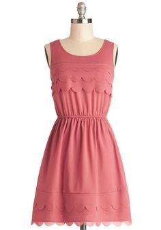 Candy Shop Cutie Dress - Woven, Short, Pink, Solid, Scallops, Casual, A-line, Tank top (2 thick straps), Good, Scoop, Valentine's