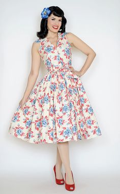Mari Dress in Blue Gardenia print