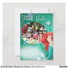 Cinderella Birthday, Little Mermaid Birthday, Disney Birthday, Birthday Thank You Cards, Thank You Card Size, Custom Thank You Cards, Mermaid Invitations, Birthday Invitations, Disney Invitations