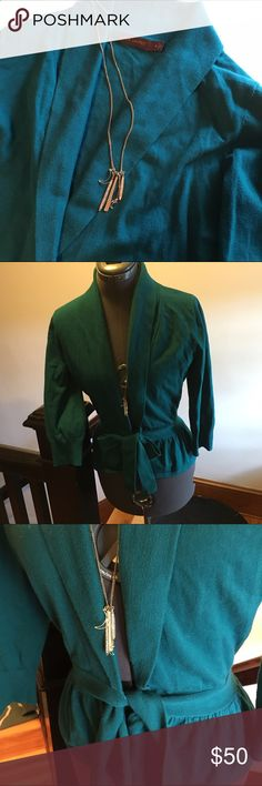 Firm  Sale🆕Listing Limited Teal Blazer/sweater Size M. EUC. Ties at the waist. Pretty teal color. Great for layering over a tank at the office or any air conditioning. Fitted at waist then flares out. 3/4 sleeves. Primarily cotton. Necklace is for sale in closet as well. The Limited Sweaters Cardigans