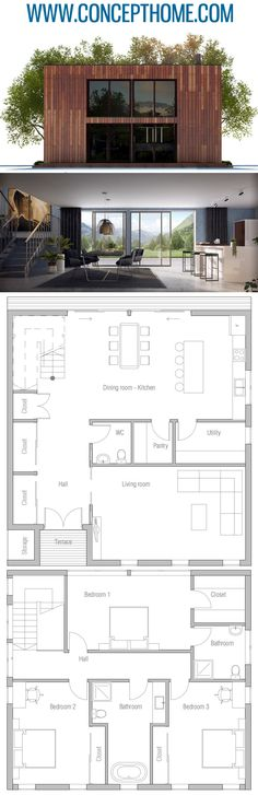 Best home gym decor layout dream houses 54 Ideas New House Plans, Small House Plans, House Floor Plans, Architecture Plan, Residential Architecture, Cool House Designs, Modern House Design, Modern Style Homes, Sims House