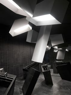 Virgina Lung explains how interior design firm One Plus Partnership used jagged geometric forms to create a cinema that looks like it has been blown up Home Theater Installation, D House, Exhibition Space, Ceiling Design, Contemporary Decor, Retail Design, Interiores Design, Lighting Design, Interior Architecture