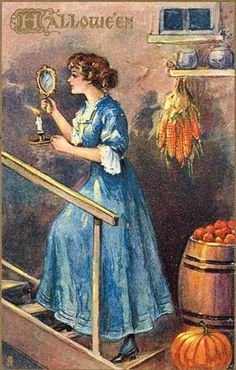 Woman on stairs, gazing into a mirror as she climb the stairs, hoping to see the face of her future husband.