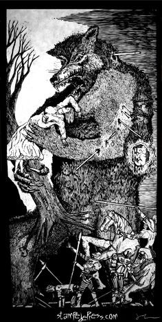 """Werewolf woodcut print by John Beckmann Stampede Press entitled """"Big Fucking Werewolf"""" The woodcut is the 1st print from the Big F'ing Monster series. www.stampedepress.com"""