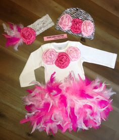 Cake Smash Birthday Couture Outfit Full Feather Bloomer, Bodysuit, Zebra Beanie & Headband Birthday Valentine Easter Spring Photo Prop