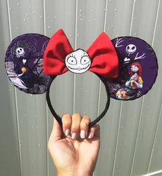 jack and sally mickey ears / nightmare before christmas headband / sally minnie ears by MotherFocaDesigns on Etsy https://www.etsy.com/listing/461863060/jack-and-sally-mickey-ears-nightmare