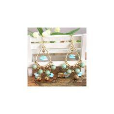 Boucles d'oreilles en métal doré et pampilles turquoises - boucles d'oreilles fantaisie - Laure.L*Bijoux