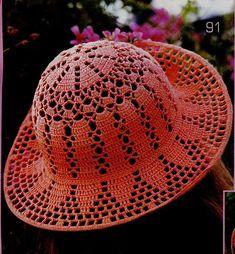 Peach Child Sun Hat free crochet graph pattern