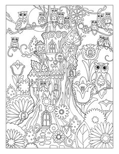 """Creative Haven Owls Coloring Book by Marjorie Sarnat, """"Treehouse"""""""